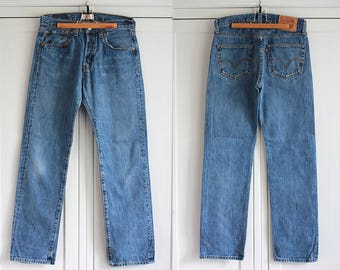 Levis 501 Jeans Blue Denim High Waist Size W31 L32 Straight Leg Vintage Boyfriend Button Fly Men Women Jeans