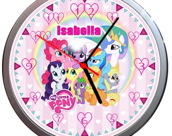 Personalised MY LITTLE PONY Wall Clock children Gift Kids Bedroom Add a name
