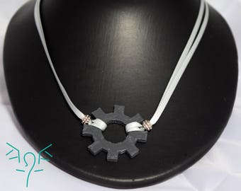 3D Printed Cog Double Ribbon Necklace