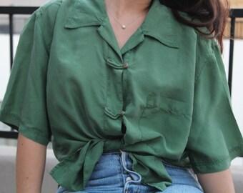 silk button up / emerald green