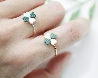 Four Leaf Clover Adjustable Ring with Malachite Gemstone, Malachite Ring, Clover Ring, Four Leaf Ring