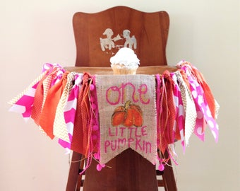 Gold Orange & Pink One Little Pumpkin Girl First Birthday High Chair Banner/Cake Smash Photo Shoot Prop/Fall Birthday Party Decor
