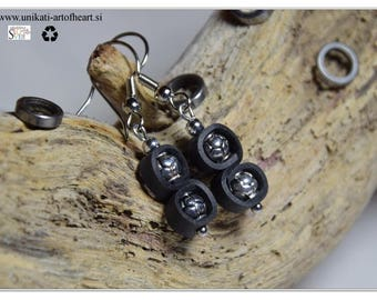 Bicycle Earring / Inner Tube Earring / Recycled Jewelry / Friendly Upcycled Earring / Gift for Cyclist / Metal Bead Earring / Rubber Earring
