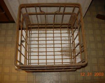 Vintage Metal Milk Crate - Primitive, Rustic