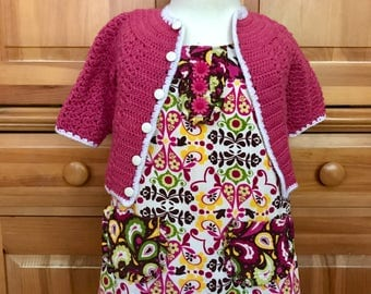 Handmade 60's mod shift dress with Matching Crocheted cardigan