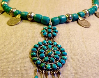 Necklace in silver and turquoise pendant harpo silver and turquoise