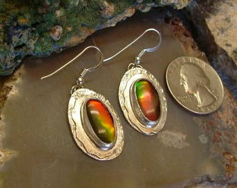 Ammolite Earrings Sterling Silver OOAK Large Boho .925 Sterling Silver Statement Jewelry Statement Earrings Red Green Yellow Fire 192G