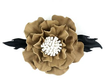 leather flower brooche