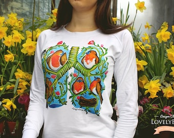 LUNGS AND BIRDS - White Cotton Sweatshirt by LovelyBones Clothing