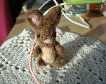 Needle felted miniature brown rabbit plush bookmark