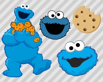Cookie monster Svg, Cookie monster Cut files, Cookie monster dxf, eps and png clipart files for Scrapbooks, Cricut or silhouette. Sesame St