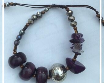 Purple and grey bracelet