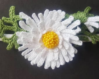 White CROCHET HEADBAND-White flower-Handmade -Nylon-Elastic-all size-Headband-baby-Headband-Girls-headband-Crochet flower-Sale
