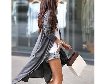 Long Gray Cardigan Button Up Cardigan
