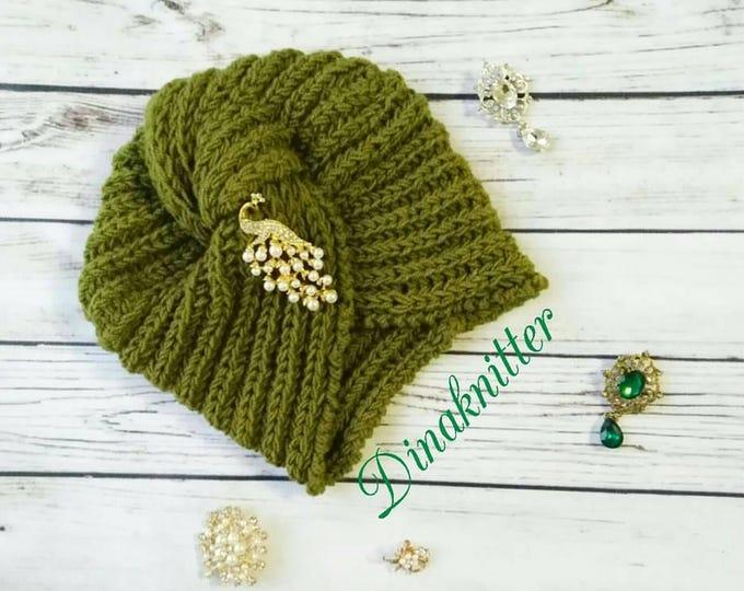 Turban. Knitted turban. Winter hat. Green turban hat. Wool turban. Headwrap. Knit wrapped hat