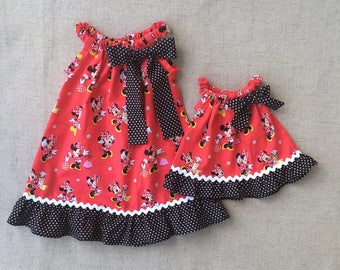Minnie Mouse Pillowcase Dress and matching doll dress, Disney Dress and matching 18 inch doll dress