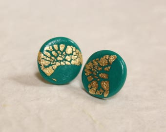 Blue Green Gold Flaked Studs ~ Classy Turquoise Handcrafted Polymer Clay Earrings