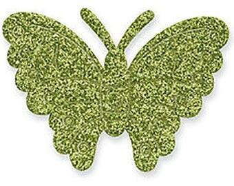 12 x Green Super Sparkly Glitter Self Adhesive Butterflies 4cm - Card Making Craft Scrapbooking