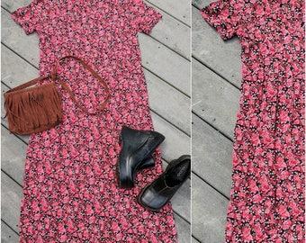 90's Vintage L.L.Bean Dense Floral Rose Midi Dress, Medium