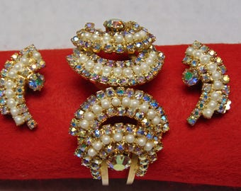 Vintage Hinged Cuff Bracelet With Matching Clip Earrings Aurora Borelias Stones Holiday, Wedding, Prom, Special Occassion Jewelry