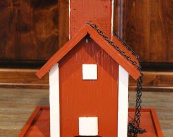 Handmade Hanging Birdfeeder - Red and white