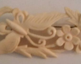 Petite Butterfly And Flower Carved Celluloid Vintage Brooch