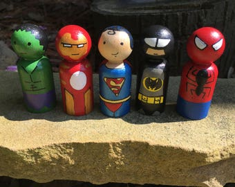 Superhero Peg People, Wooden Peg People, Natural Toys, Imagination Play, Hand Painted Toys, Superman, Batman, Iron Man, Hulk, Spider-man
