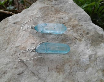 Crystal Earrings, Turquoise Blue Raw Crystal Dangle Earrings with Stainless Steel Wire/Surgical Steel Ear Wires, Healing Crystal Earrings