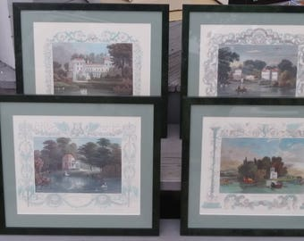 Quality Decorator Vintage Steel Engraved Prints Drawn by Tombleson Origially In the 1830's Of English landscapes - Set of Four