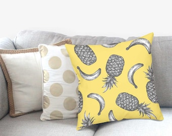 Pineapple Pillow - Decorative Pillow - Gold Pineapple Decor - Pineapple Print - Pillow Sham - Throw Pillow Cover - Accent Pillow