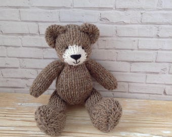 Newborn photo prop teddy bear, 6 inch toy, knitted soft toy bear, handmade bear, stuffed animals, baby girl first gift, tiny bear, baby prop