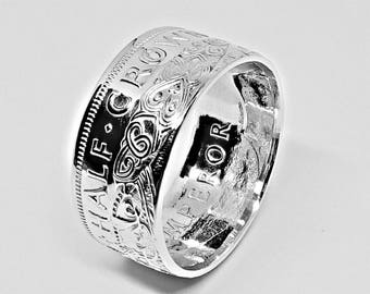 Silver New Zealand half crown coin ring 1942 U.S.11 - UK W