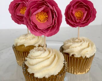 Pink paper peony cupcake toppers