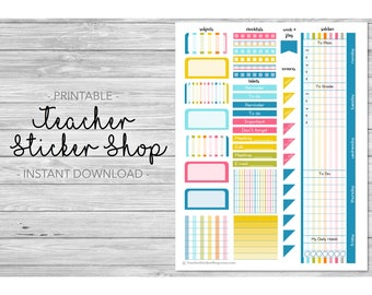 Teacher Planner Weekly Layout Kit Sticker PRINTABLE  with Cut File! - Colorful Stripes - for Erin Condren, Happy Planner, Lesson Planner