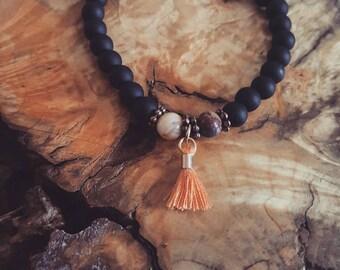 Black onyx tassle bracelet