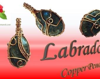 Labradorite Crystal & Copper Pendant