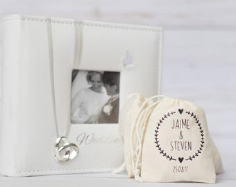 """5 x Personalized Favor Bags 3 x 4"""" Muslin Bag, Small Wedding, Jewelry Bag, Drawstring Pouch, Muslin Pouch, Bridesmaid Gift Bags"""