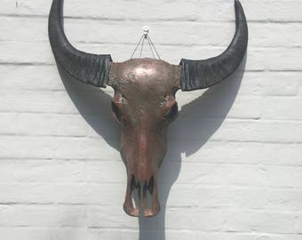 Real Buffalo Skull Sculpture In patinated Copper One Of A kind