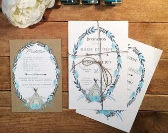 Bohemian, feather, teepee baptism invitation
