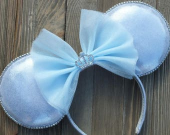 Cinderella Minnie Ears, Cinderella Minnie Mouse Ears, Mickey Ears, Silver Sparkly Minnie Ears, Unique Minnie Mouse Ears, Gorgeous