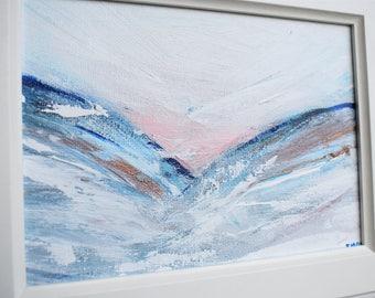 Acrylic Snowy Mountain Landscape Abstract 2 Original