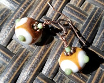 Brown and mint sputnik earrings