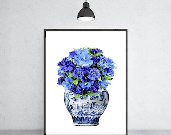 blue and white vase with blue flowers art print Ming vase chinoiserie ginger jar art indigo blue porcelain Ming Dynasty art