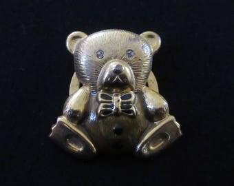 Vintage Teddy Bear Scarf Clip with Rhinestone Eyes in Gold Tone