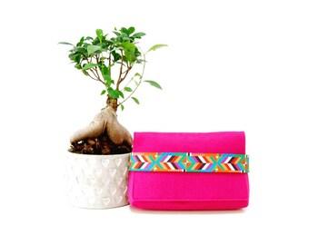 Pink clutch, Boho style clutch, Gift for her, Felt clutch,  Vegan clutch, Ethnic style clutch, Gift for women, Fuchsia clutch, Pink bag