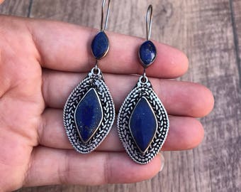 Afghan Vintage Earrings, lapis lazuli earrings, lapis earrings, big tribal earrings, tribal jewelry, turquoise hoop earrings, boho gypsy