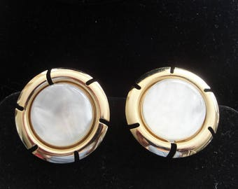 Sarah Coventry Gold Earrings Set with Faux Pearl Centers --      #32