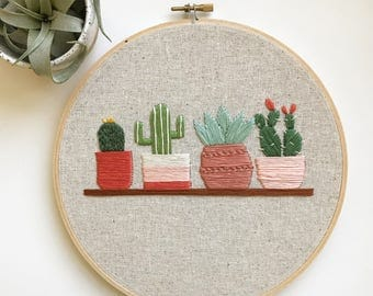 prickled pink cactus embroidery