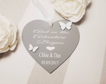Personalised wedding gift, heart plaque