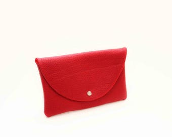 Leather clutch in red
